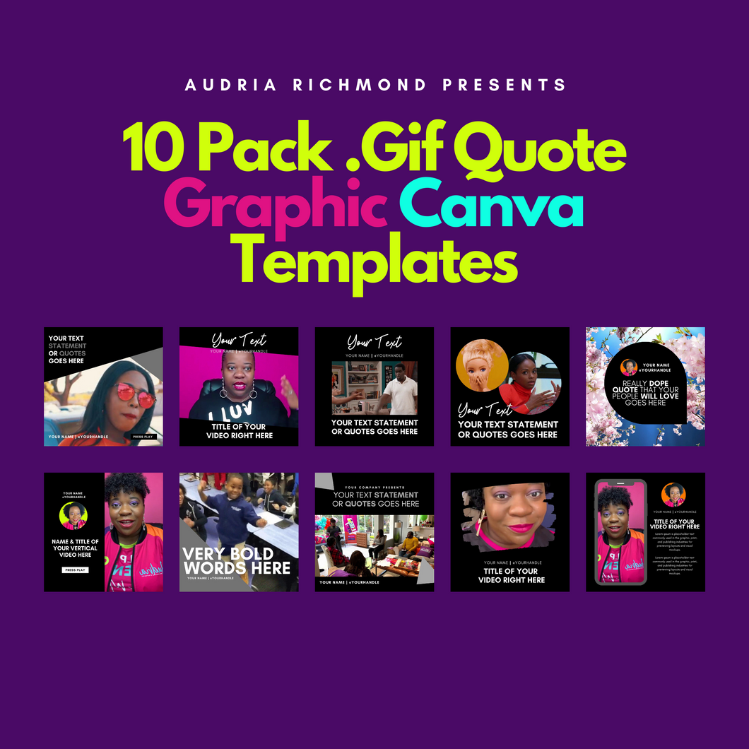10 Pack .Gif Quote Canva Templates