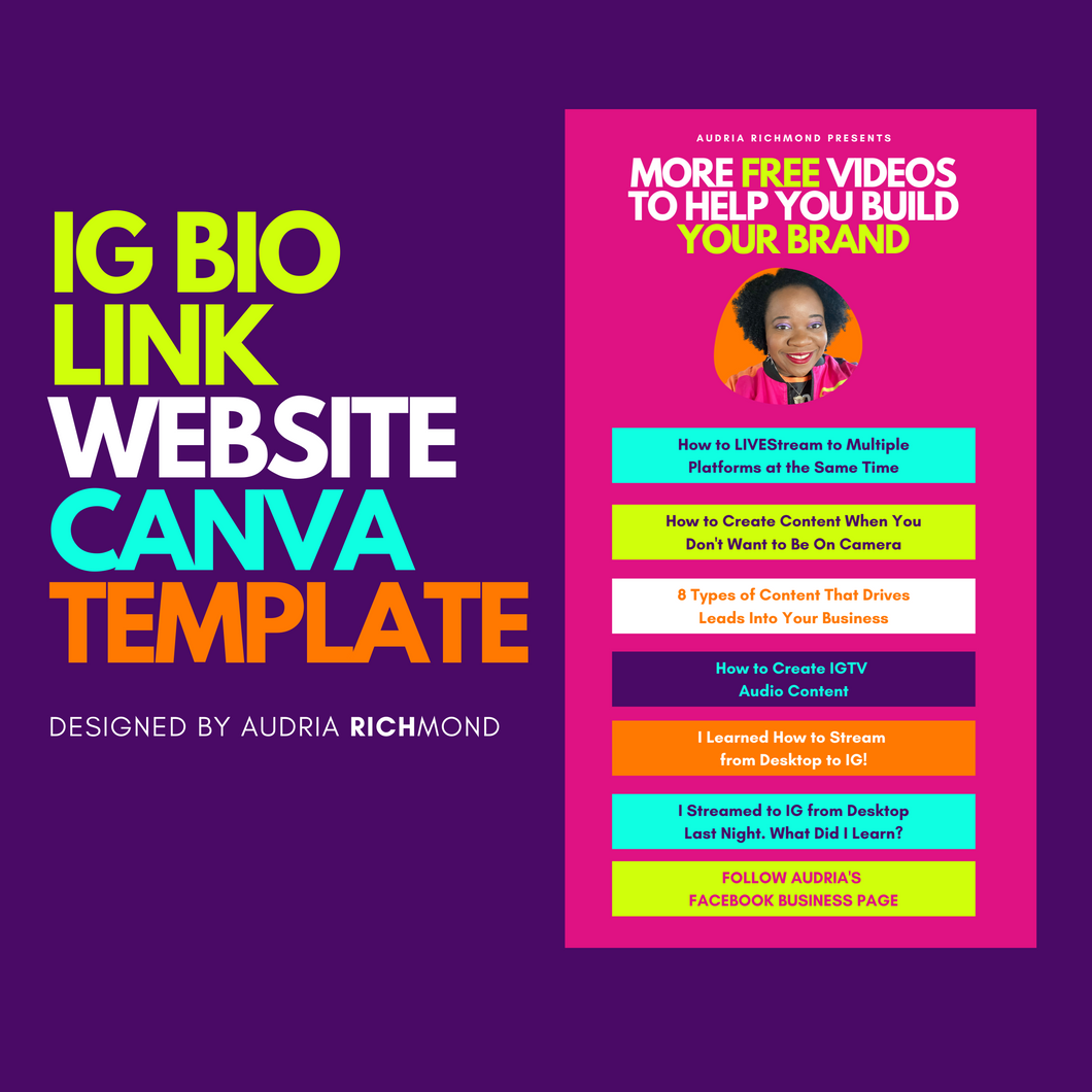 IG BIO Link Website Canva Template