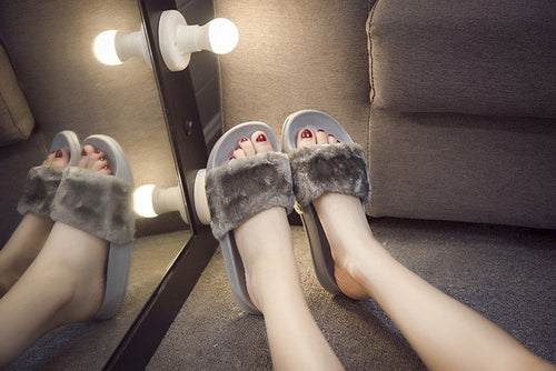 Faux Fur Sliders.