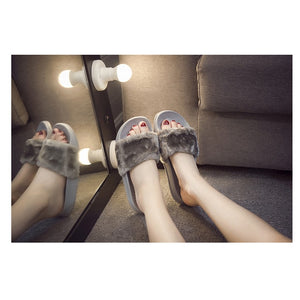 Casual Fluffy Faux Fur Sliders.