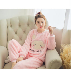 Womens Fleece pyjamas set with animated top