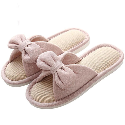 Butterfly Knot Linen Slippers.