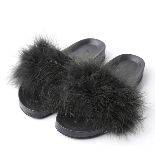 Women's Fur Beach Sliders.