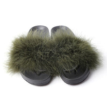 Load image into Gallery viewer, Women's Fur Beach Sliders.