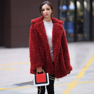 Women Winter Jacket Coat Faux Fur Bomber Jacket