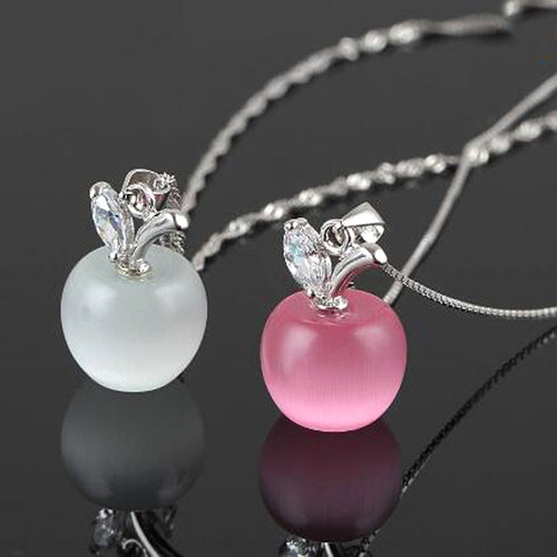 Apple Crystal Pendant Necklace