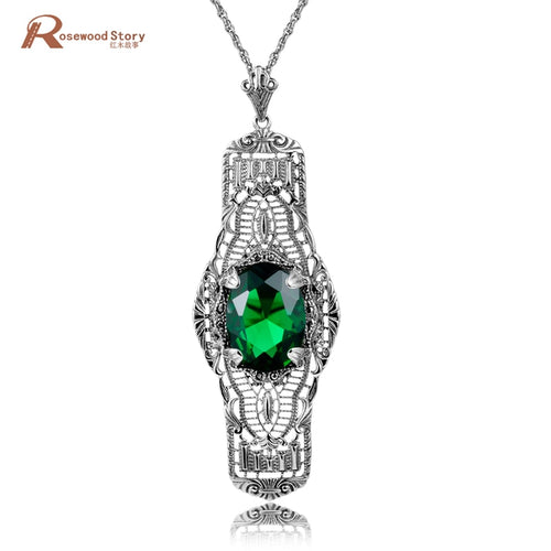 Vintage Green CZ Rhinestone Sterling Silver Necklaces & Pendants