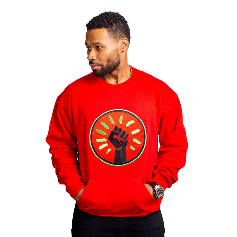Black Fist 100%  Embroidered Crew Neck Sweatshirt, Red (Limited Edition)