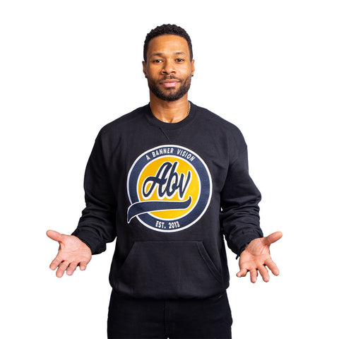 ABV 100%  Embroidered Crew Neck Sweatshirt, Black (Limited Edition)