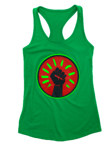 Women's Black Fist Tank Top - Green