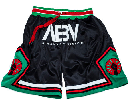 ABV / Black Fist Embroidered Drop Crotch Shorts - Black