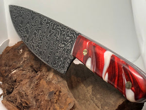 Damascus Chef's Knife with Red and White Marble Handle