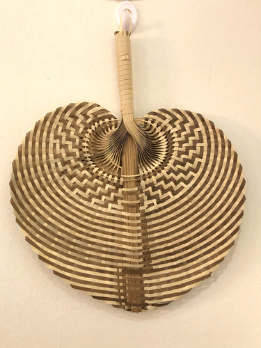 Palm Weaved Hand Fan DUO (White/Brown)