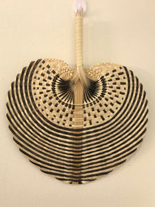 Palm Weaved Hand Fan DUO (White/Black)