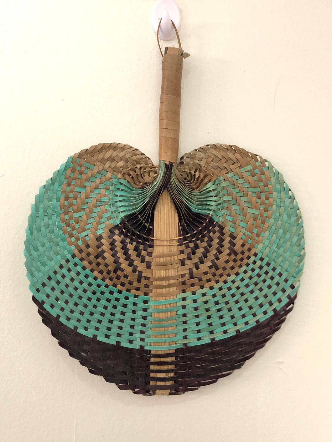 Palm Weaved Hand Fan TRI (Brown/Blue/Black)