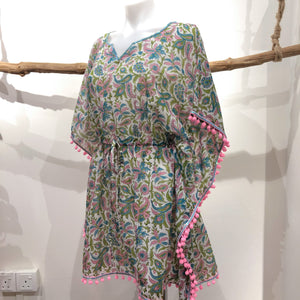 Paisley Kaftan Adult with Pink Pompom