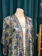 Load image into Gallery viewer, Light Blue Hand Stamped Batik Silk Kimono