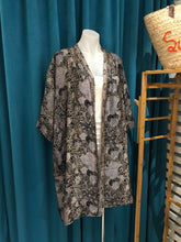 Load image into Gallery viewer, Black Hand Stamped Batik Silk Kimono