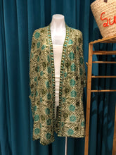 Load image into Gallery viewer, Olive Green Hand Stamped Batik Silk Kimono