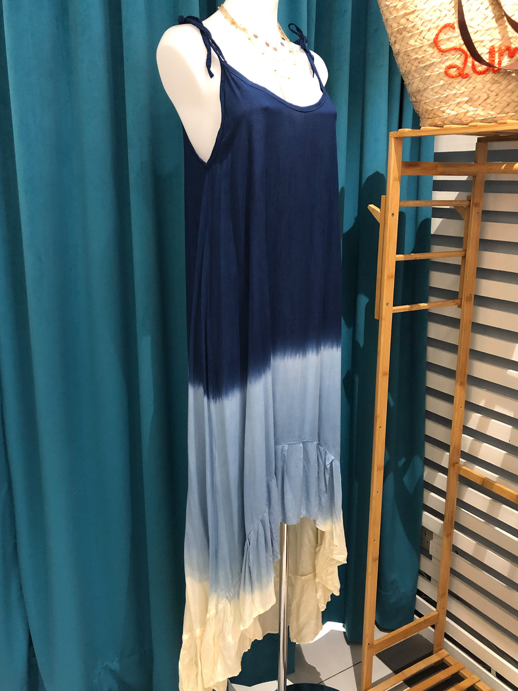 Blue Ombre High Low Dress