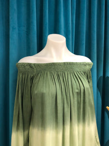 Green Ombre Off Shoulder Dress