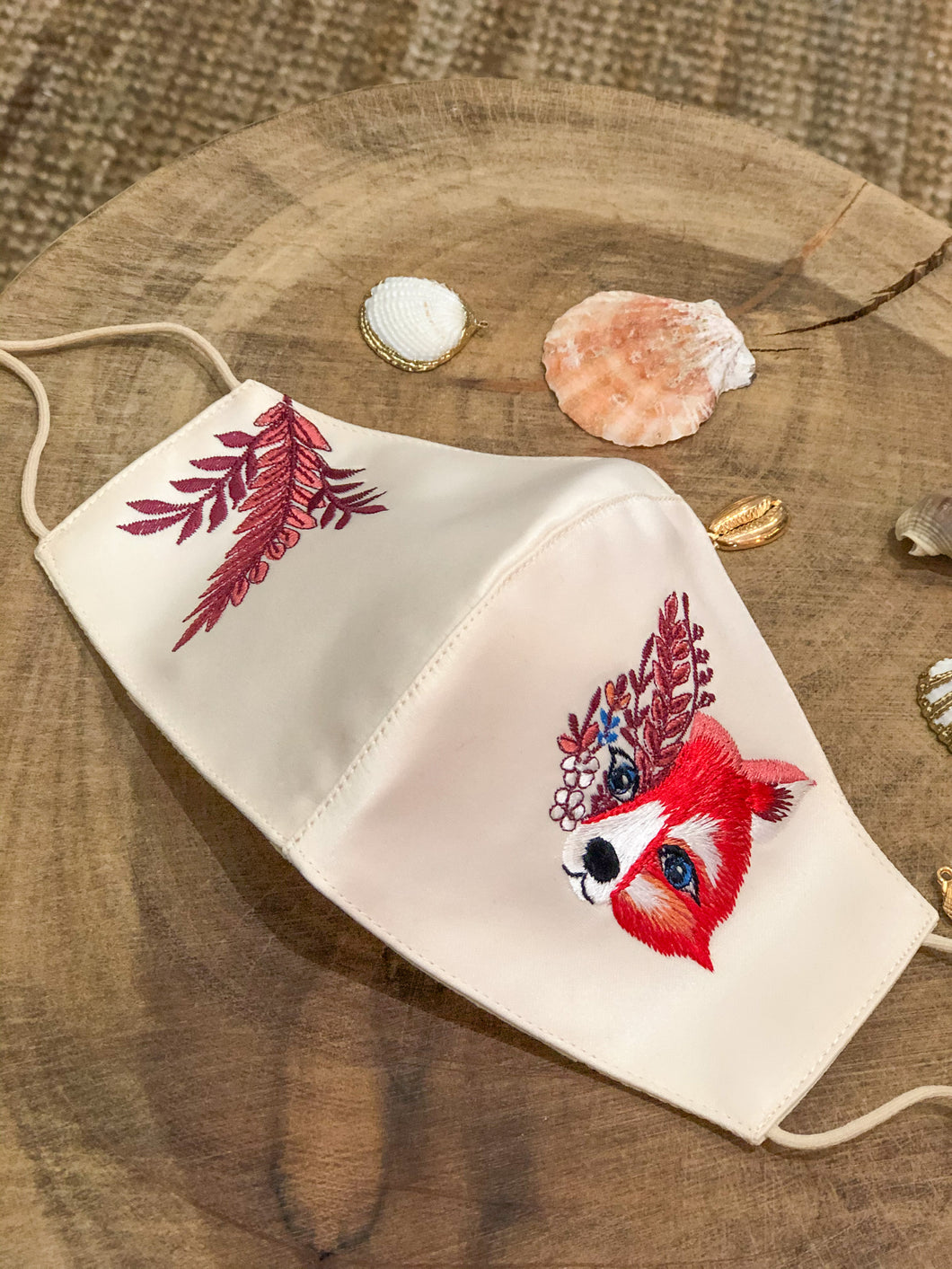 Fox Satin Embroidery Facemasks