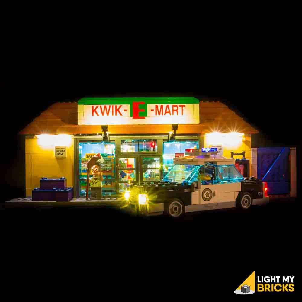 LEGO LED Light Kit for 71016 Kwik-E-Mart Front with Chief Wiggum's Car