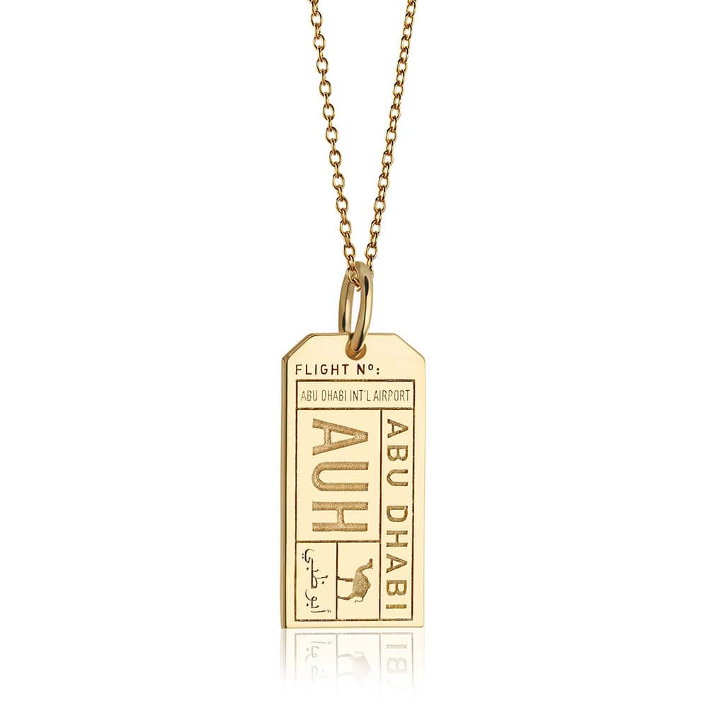 Gold Middle East Charm, AUH Abu Dhabi Luggage Tag - JET SET CANDY