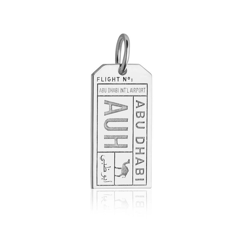 Silver Middle East Charm, AUH Abu Dhabi Luggage Tag - JET SET CANDY