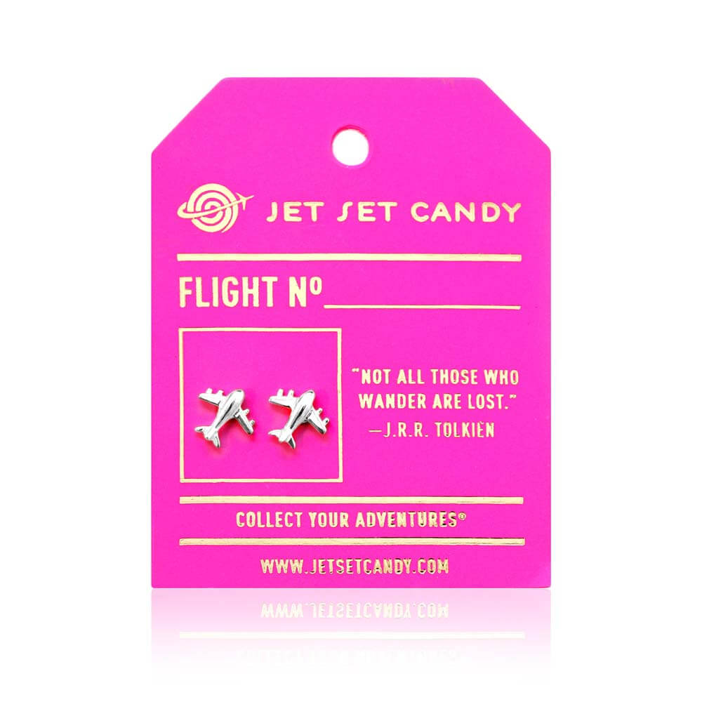 Sterling Silver Airplane Earrings - JET SET CANDY