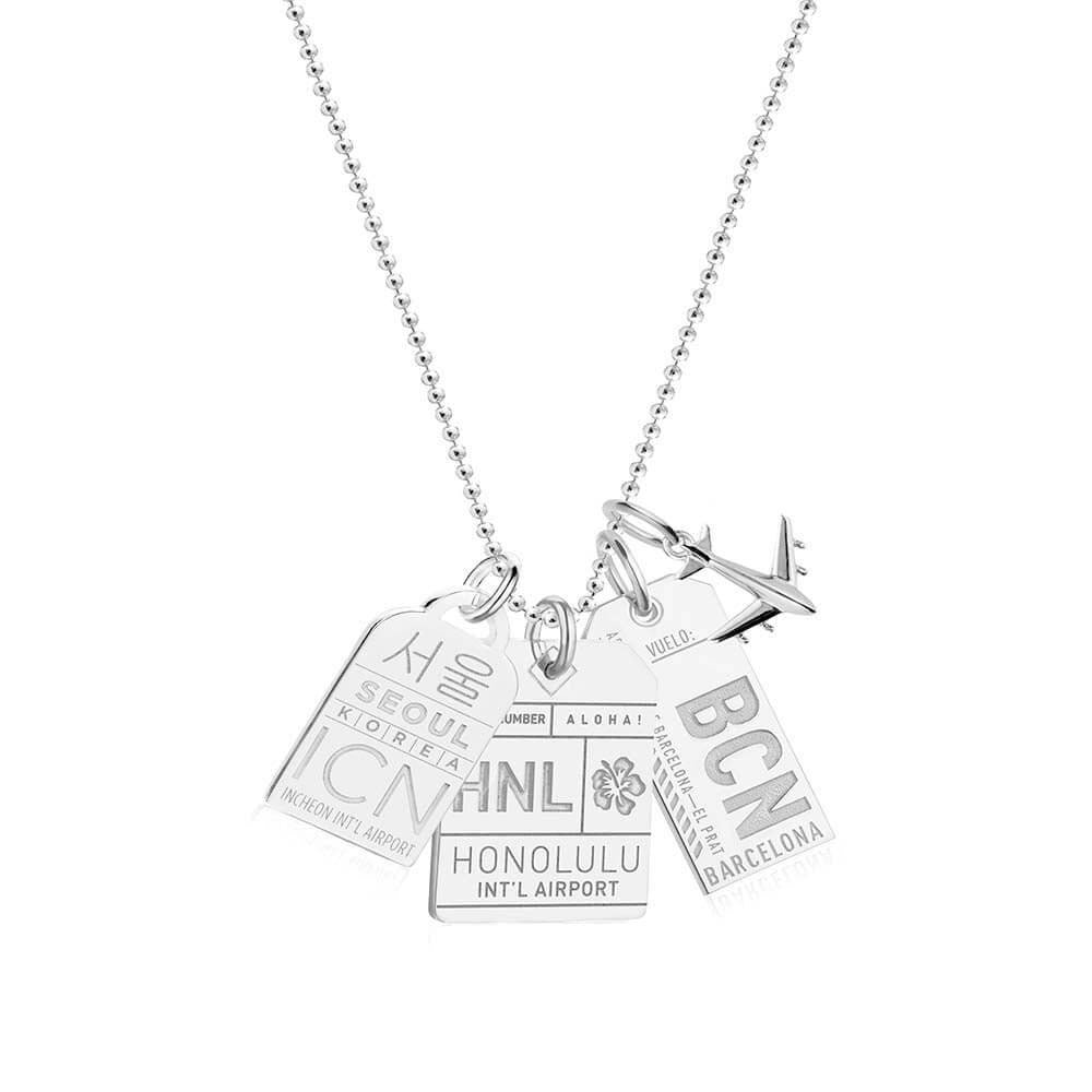 "24"" SILVER BALL CHAIN WITH 3 LUGGAGE TAG CHARMS (MINI PLANE SHIPS JUNE) - JET SET CANDY"