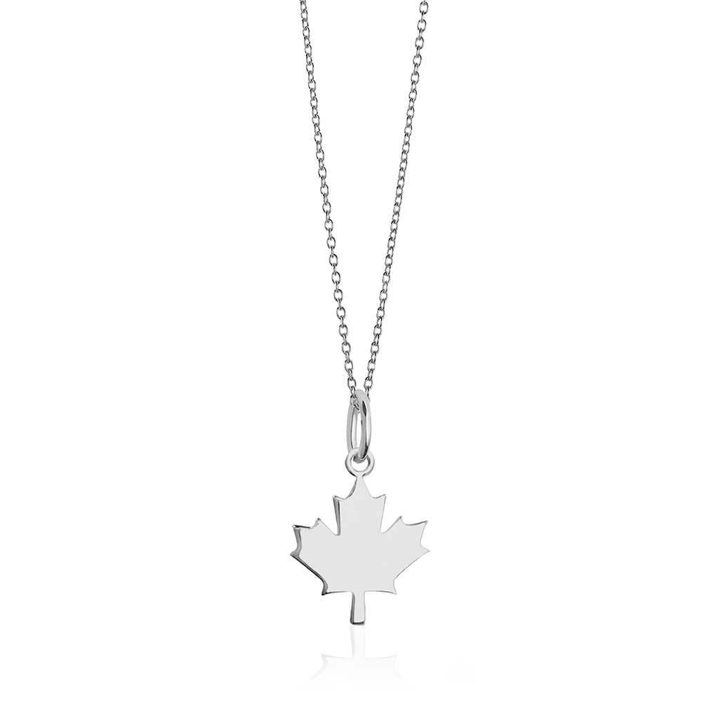 Mini Silver Canada Leaf Charm Necklace
