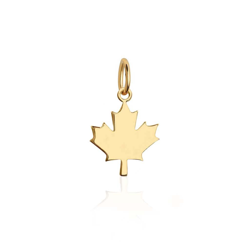 Mini Solid Gold Canada Maple Leaf Charm