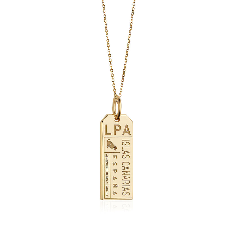 Gold Canary Islands, LPA Luggage Tag Charm - JET SET CANDY