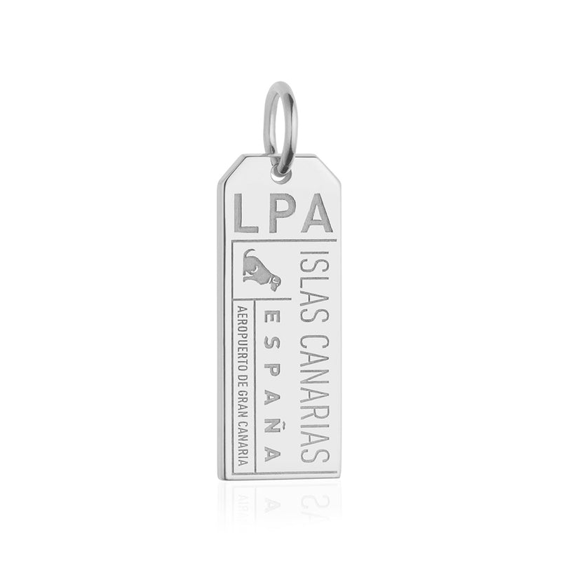 Sterling Silver Grand Canary Islands, LPA Luggage Tag Charm - JET SET CANDY