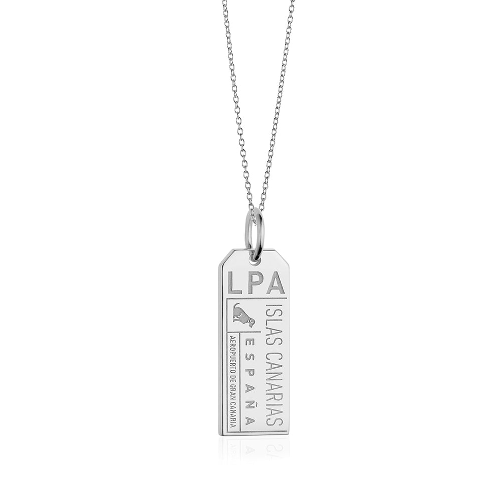 Sterling Silver Gran Canaria Charm, LPA Luggage Tag - JET SET CANDY