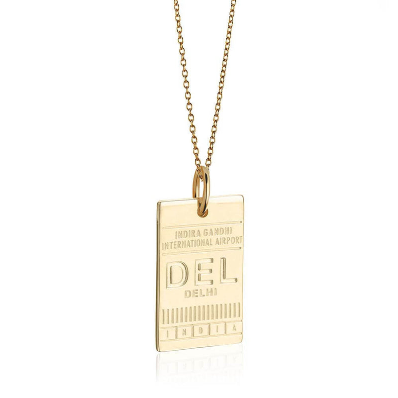 Gold India Charm, DEL Delhi Luggage Tag Charm - JET SET CANDY