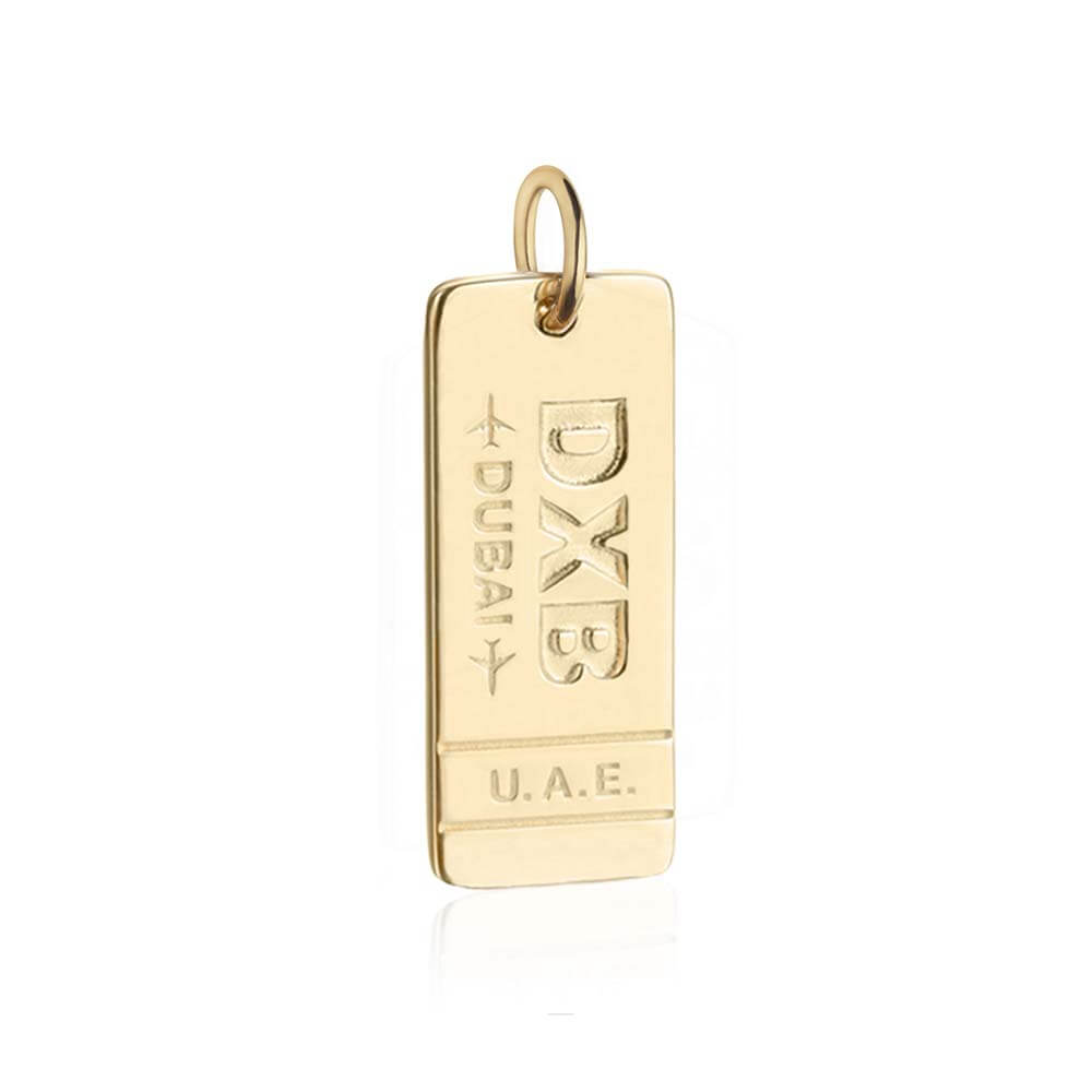 Gold Dubai Charm, DXB Luggage Tag - JET SET CANDY