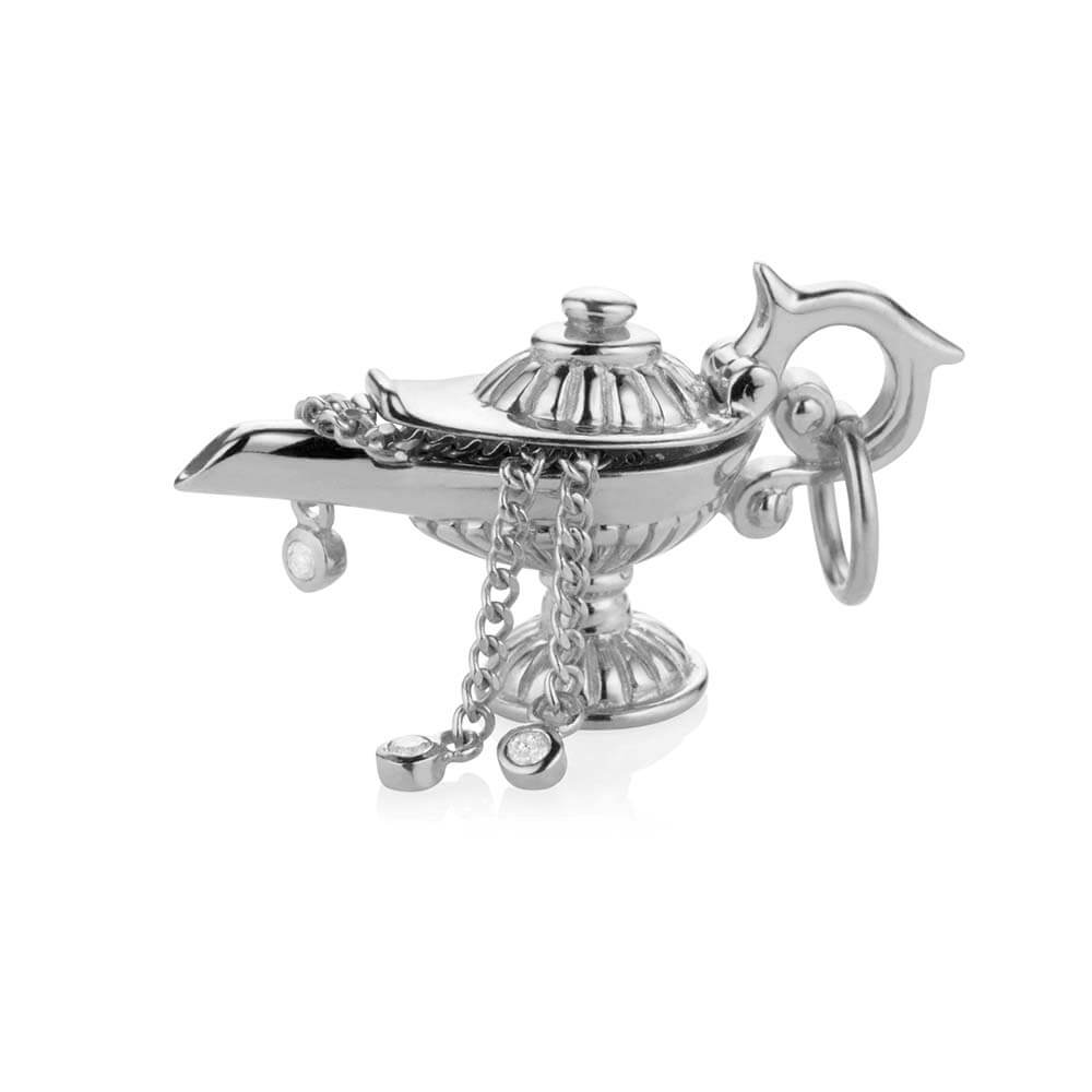 Silver Dubai Charm, Magic Lamp with 3 Wishes - JET SET CANDY