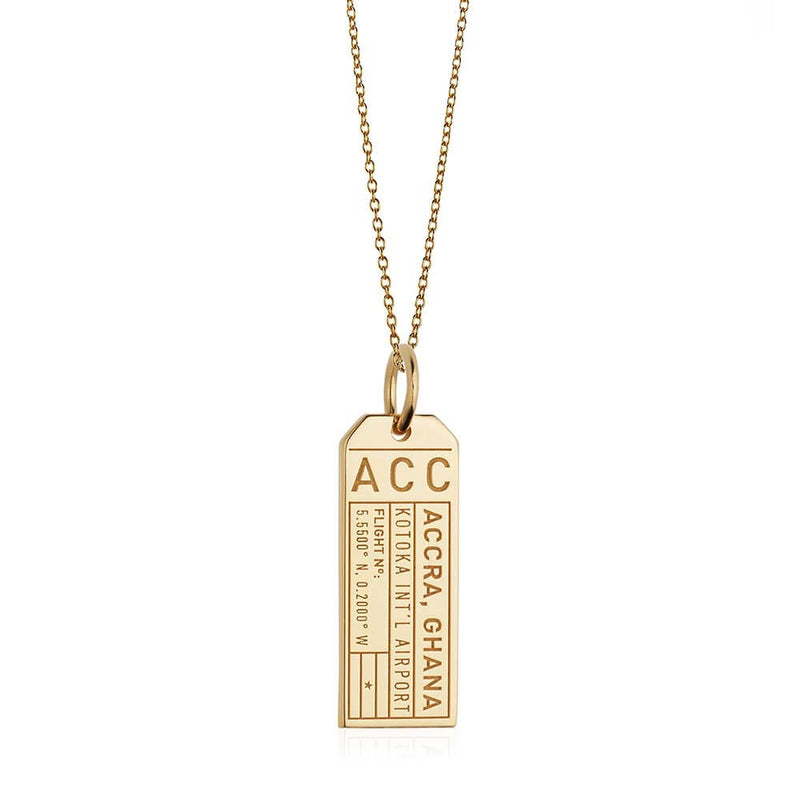 Gold Africa Charm, ACC Accra, Ghana Luggage Tag - JET SET CANDY