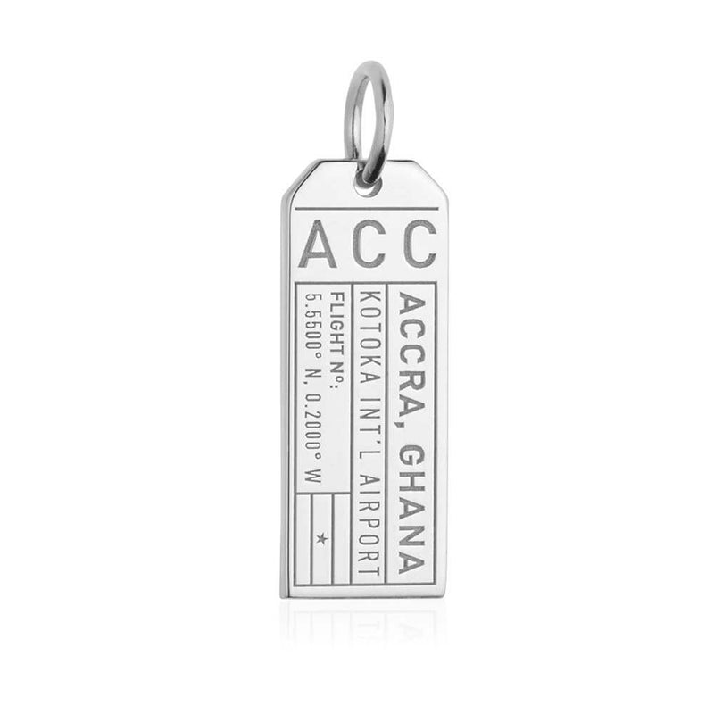 Silver Africa Charm, ACC Accra, Ghana Luggage Tag - JET SET CANDY