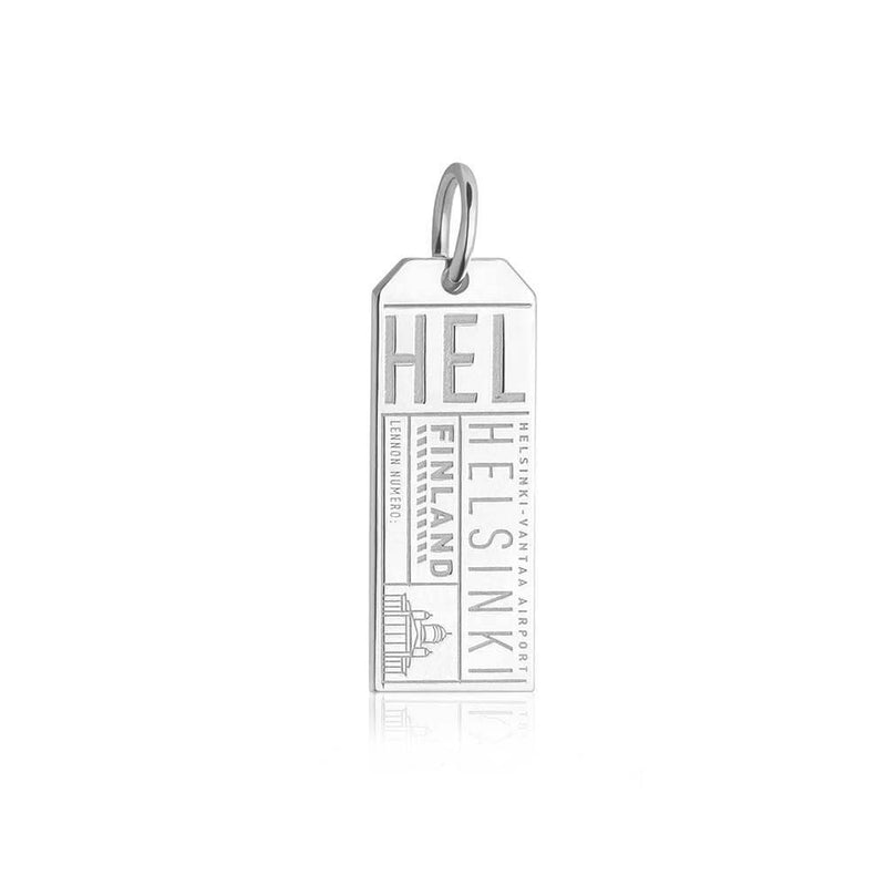 Silver Finland Charm, HEL Helsinki Luggage Tag - JET SET CANDY