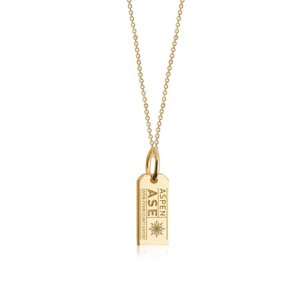 Solid Gold Mini Aspen Charm, ASE Luggage Tag - JET SET CANDY