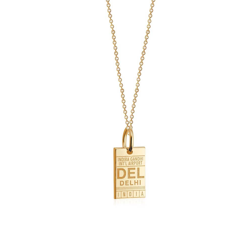 Solid Gold Mini India Charm, DEL Delhi Luggage Tag - JET SET CANDY