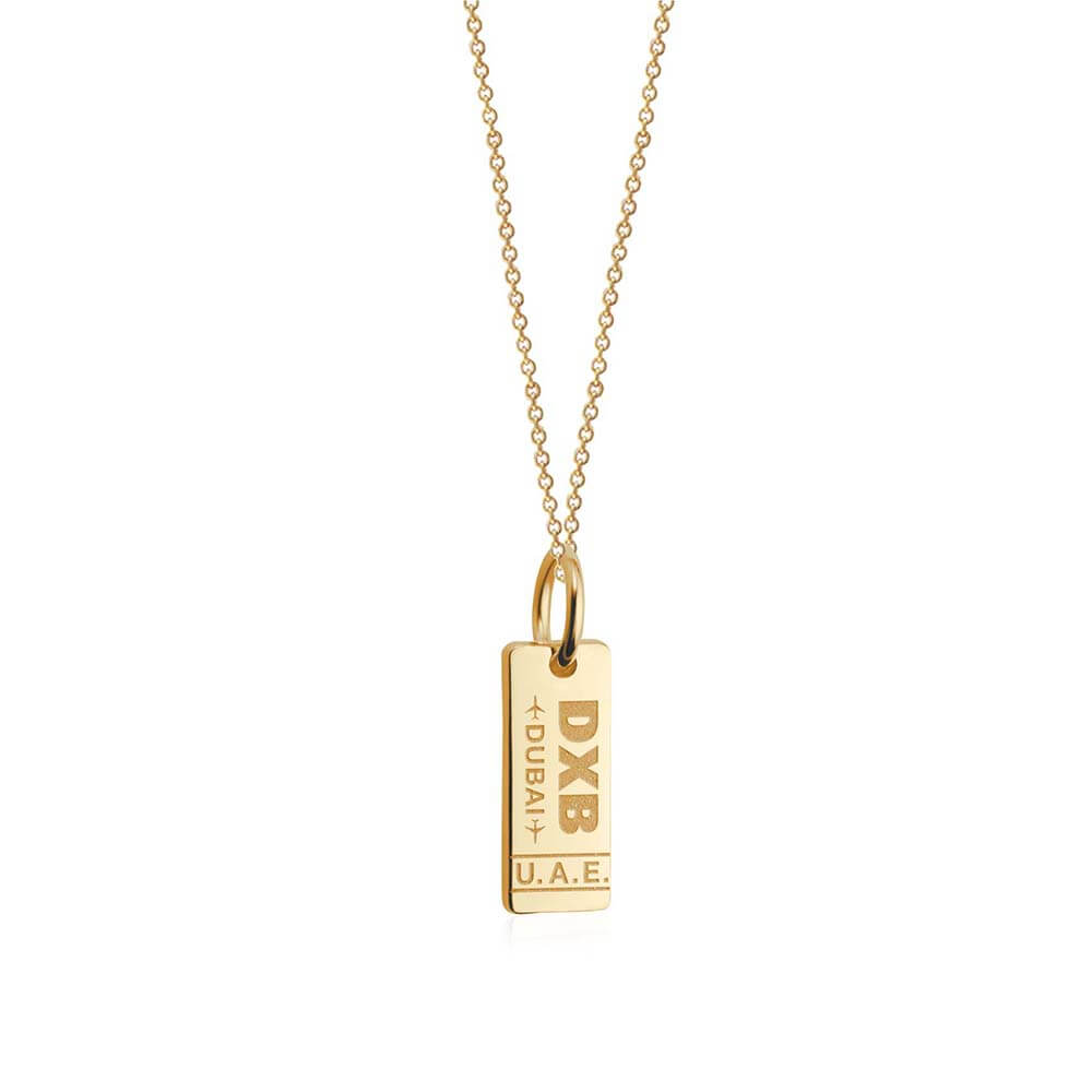 Solid Gold Mini Dubai Charm, DXB Luggage Tag - JET SET CANDY