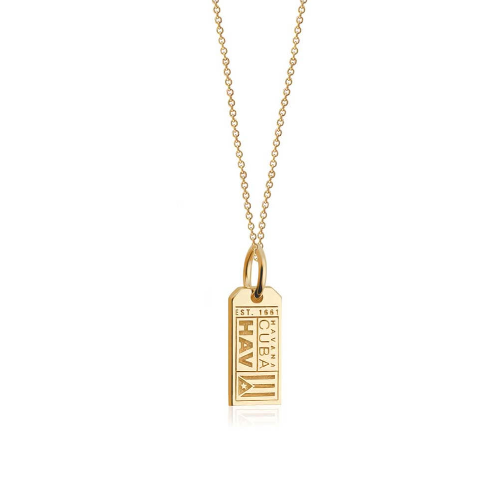 Mini Solid Gold Havana Charm, HAV Luggage Tag - JET SET CANDY
