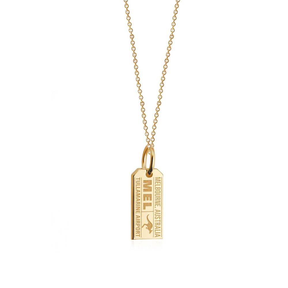 Solid Gold Mini Charm, MEL Melbourne Luggage Tag - JET SET CANDY