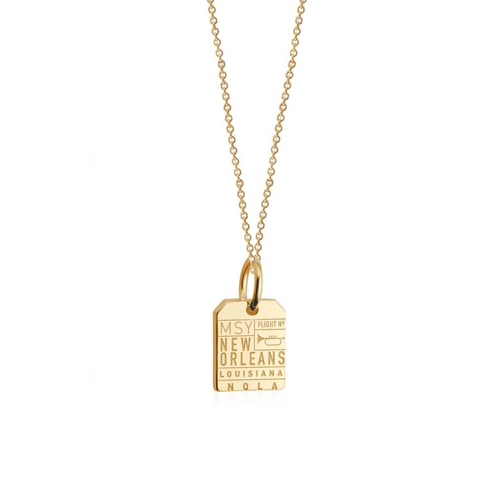 Solid Gold Mini Charm, MSY New Orleans Luggage Tag - JET SET CANDY
