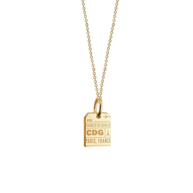 Solid Gold Paris Charm, Mini CDG Luggage Tag - JET SET CANDY