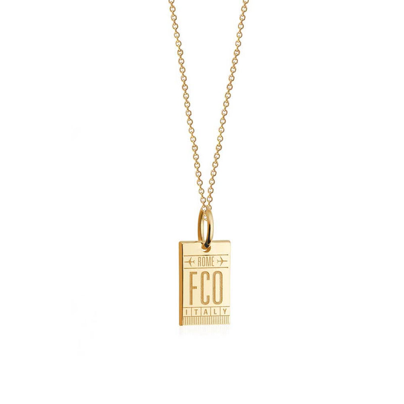 Solid Gold Mini Italian Charm, FCO Rome Luggage Tag - JET SET CANDY